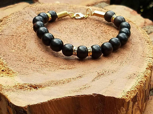 10mm Ebony Wood with gold plated accents