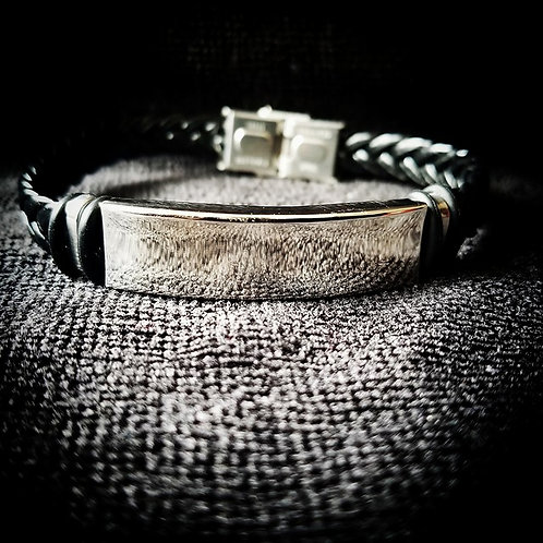 Black braided Men's bracelet with Silver plated buckle