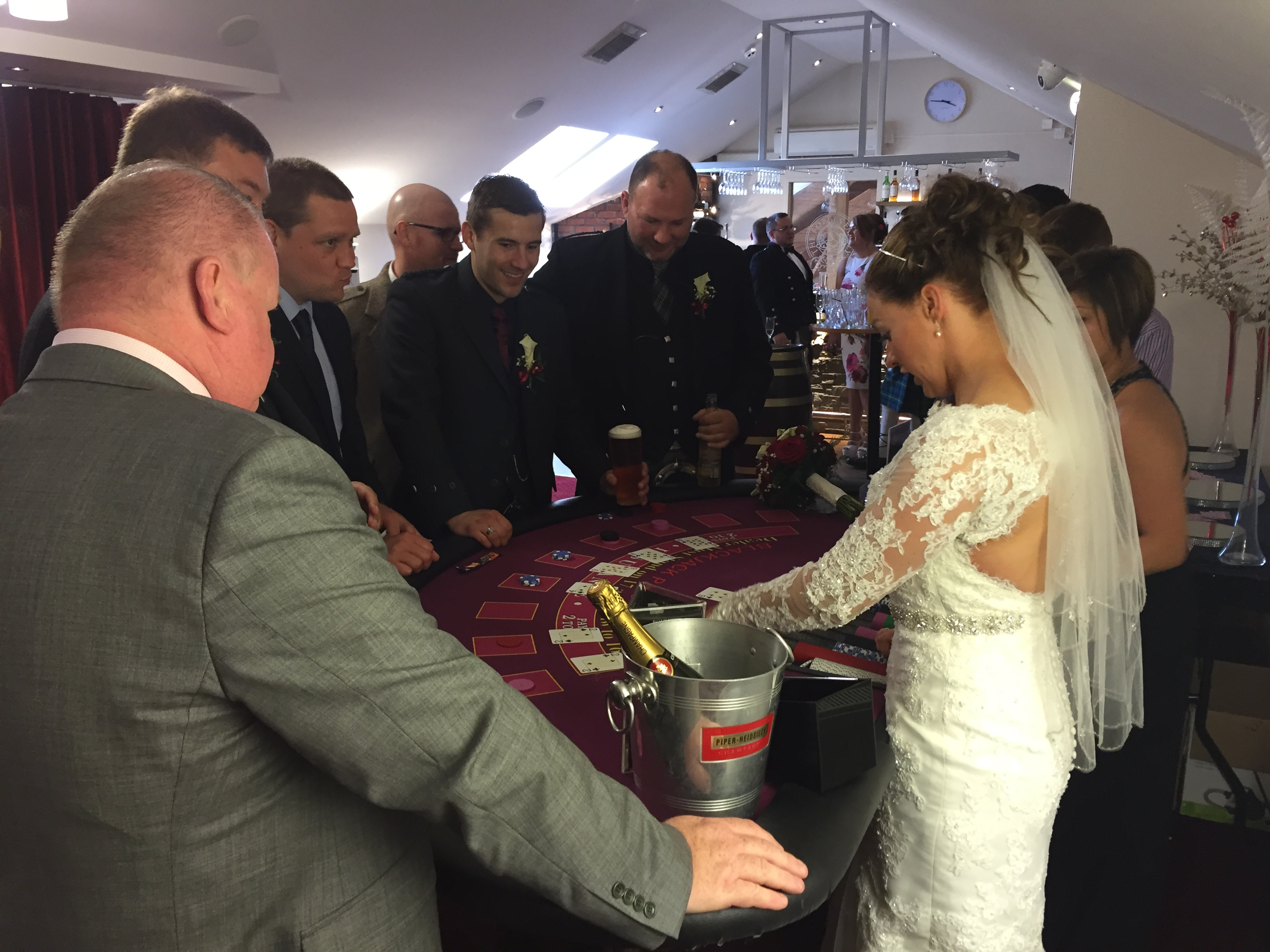 Bride Dealing blackjack
