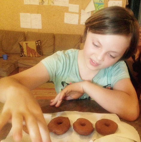Ashleya (10) and her homemade doughnuts for Australia Day! Tasted way better than shop bought doughnuts!