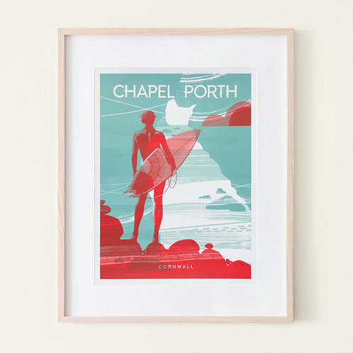 SURFER AT CHAPEL PORTH