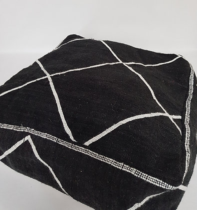 Black Wool Pouf