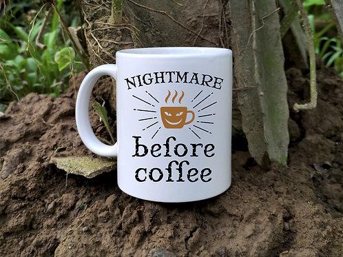 Ceramic mug with coffee graphic
