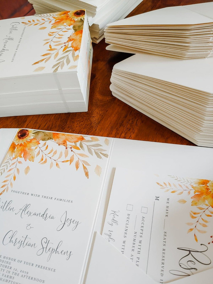 Wedding Invitations + RSVP + Pocket Folder + Envelope