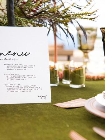 Menu Card - photo by Reg + Kala photography