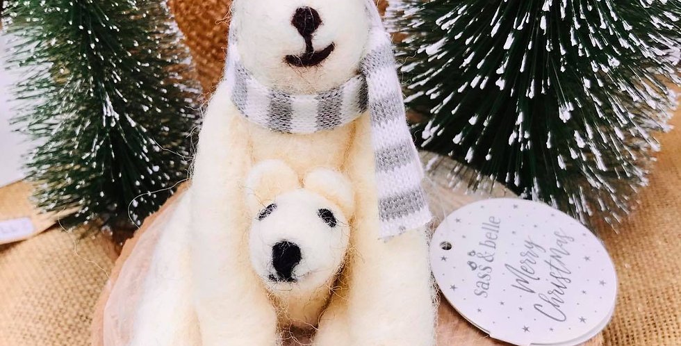 Polar Bear and Cub Felt Hanging Decoration