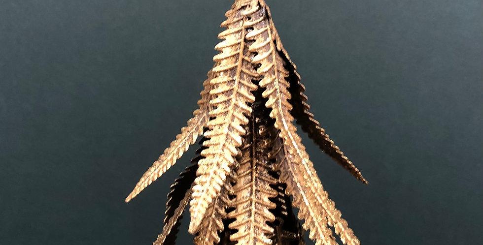 Gold Metal Christmas Tree on Wooden Log Base