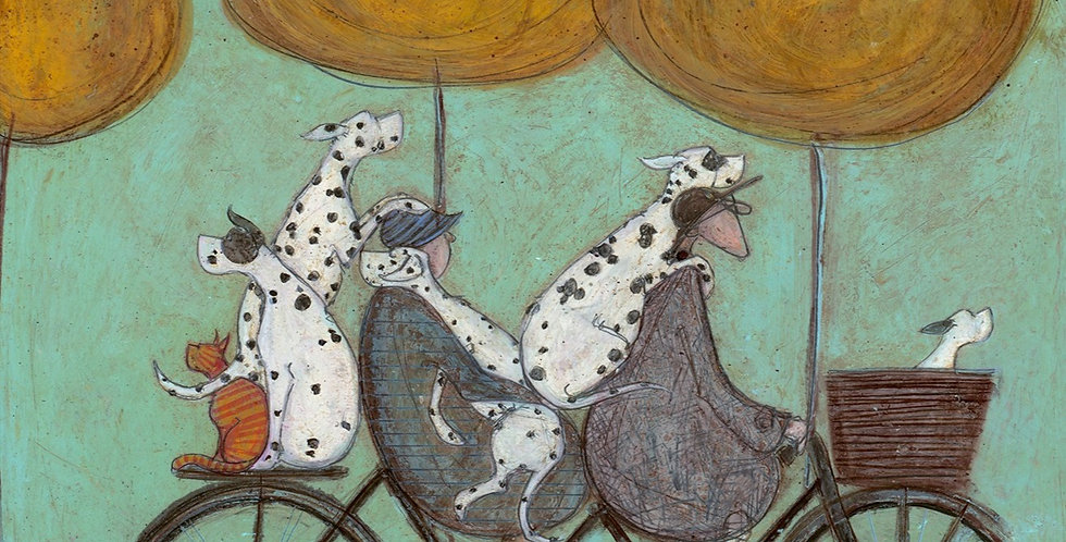 How Many Dalmatians Fit on a Bicycle. Signed Limited Edition Print by Sam Toft