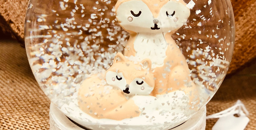 Sleepy Fox & Cub Snowglobe