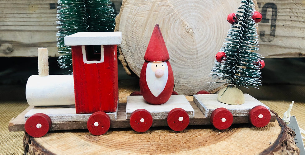 Wooden Santa Train With Tree Decoration