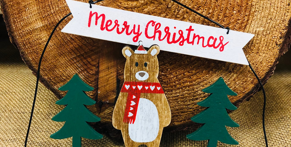 Merry Christmas Bear Hanging Decoration