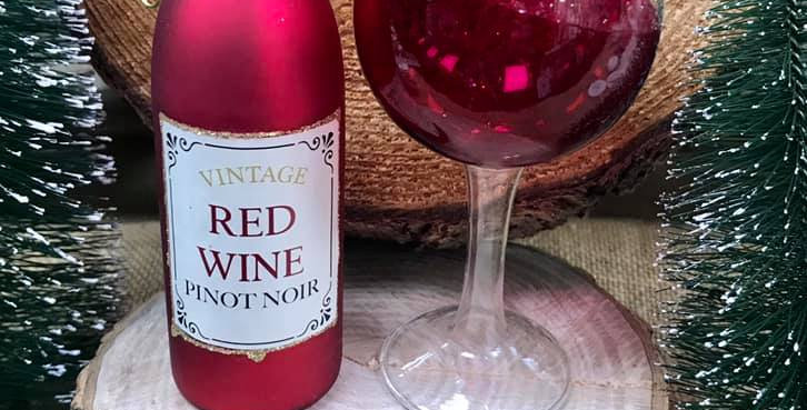 Red Wine Bottle & Wine Glass set of 2