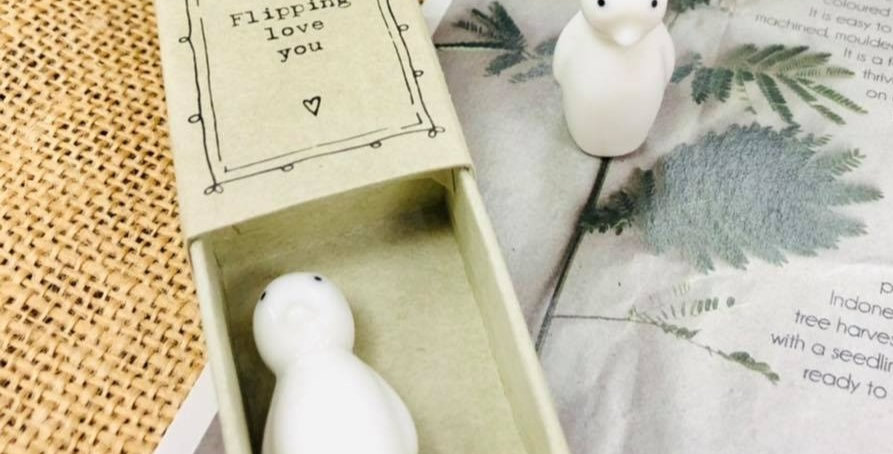 Ceramic Penguin in a Box