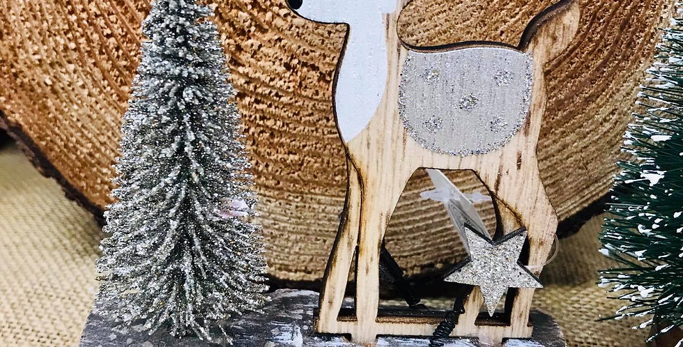 Fawn & Tree Festive Decoration