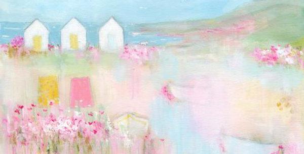 Beach Huts Signed Open Print by Sue Fenlon
