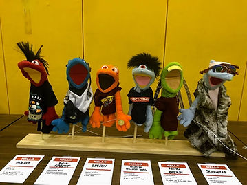 Felt Muppets created by HSLEAPS art club and featured in local papers
