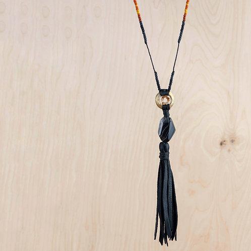 Handmade Sardonyx & African Sapphire Leather Talisman Necklace - NM Made
