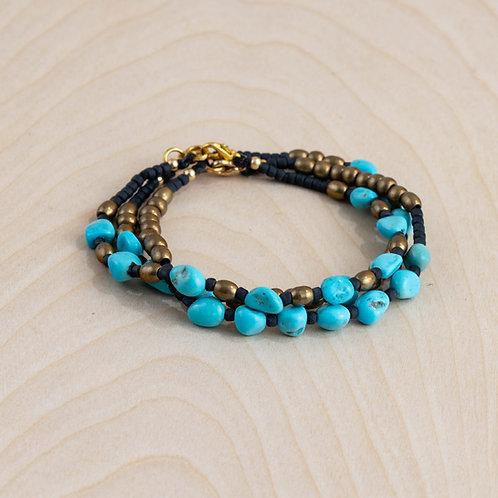 Handmade Sleeping Beauty Turquoise & Brass Bracelet - NM Made