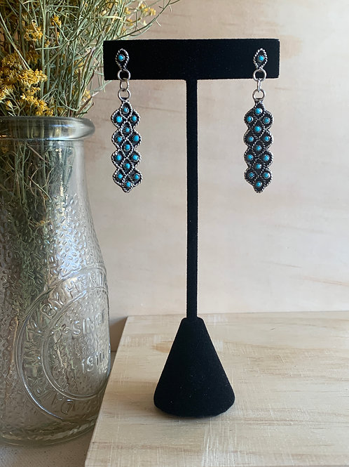 New Mexico Made Turquoise and Sterling Silver Earrings