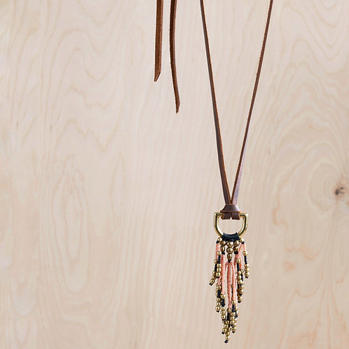 Beaded Fringe & Leather Necklace - NM Made
