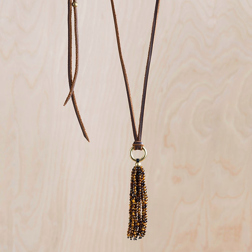 Tigers Eye & Leather Necklace - NM Made