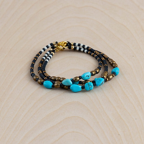 Handmade Sleeping Beauty Turquoise & Brass Bracelet - NM Made