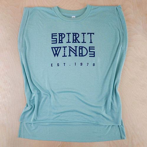 Spirit Winds Dusty Rolled Cuff Flowy Shirt
