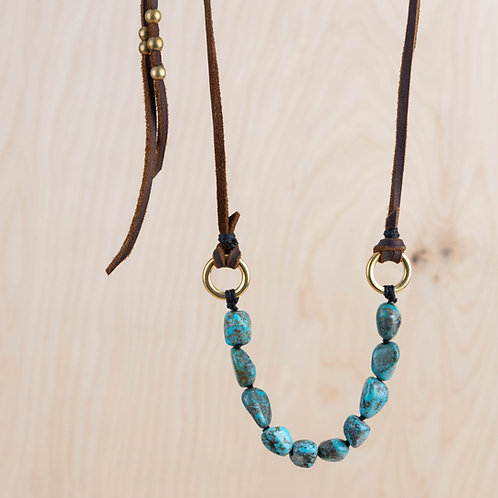 Fox Turquoise & Leather Necklace - NM Made
