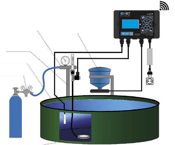 Aquakultur Rundbecken mit individueller Sauerstoffregelung, Notfall Sauerstoffversorgung und automatischer Fütterung