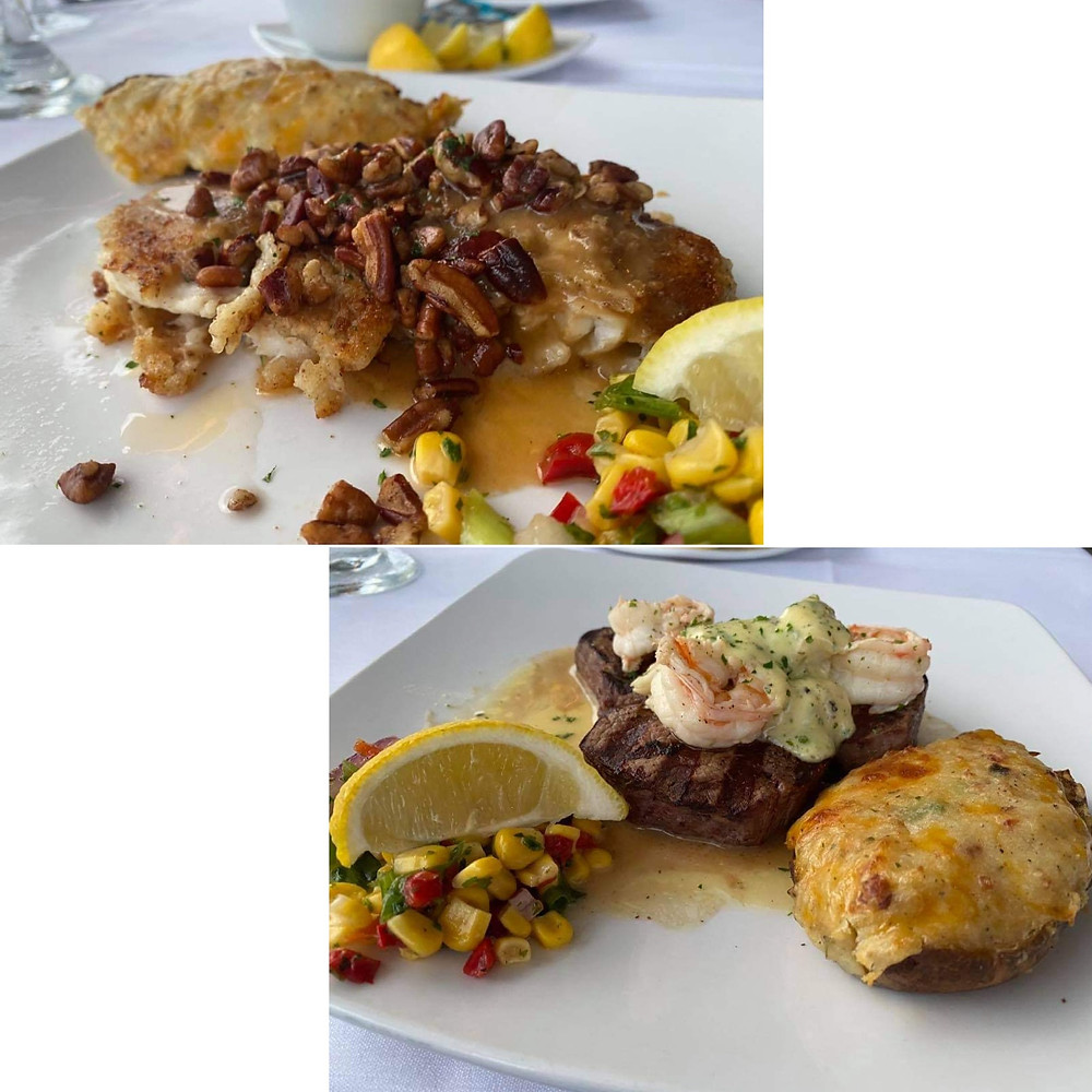 TOURNEDOS OF BEEF Medallions of Certified Angus Beef Filet Mignon topped with sautéed jumbo lump crab meat and shrimp and finished with béarnaise sauce GROUPER PECAN Fresh Gulf Grouper, pan sautéed and topped with toasted pecans and meuniere sauce