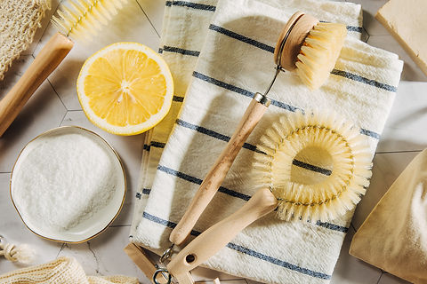 Natural cleaning products lemon and baki