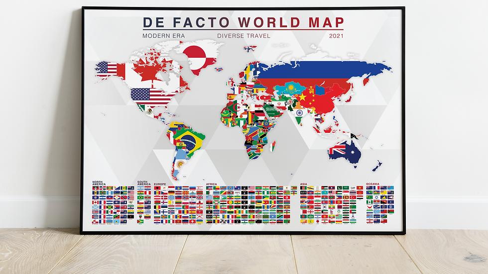 'De Facto World Map' Print