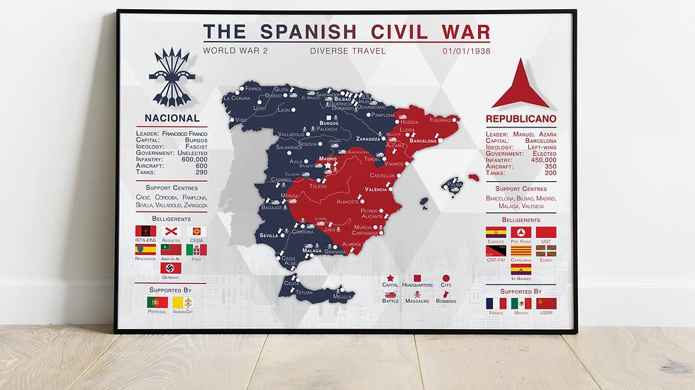 'The Spanish Civil War' Map Print