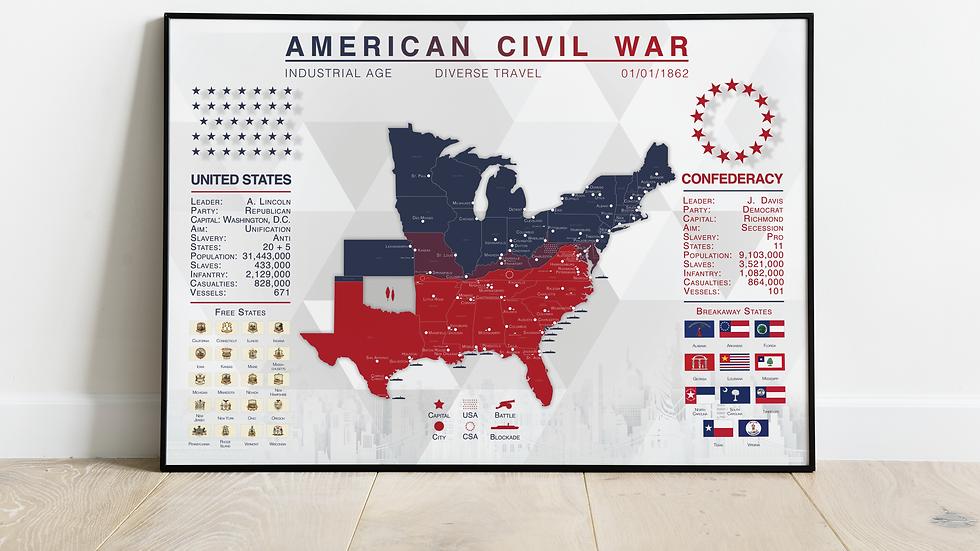 'The American Civil War' Map Print