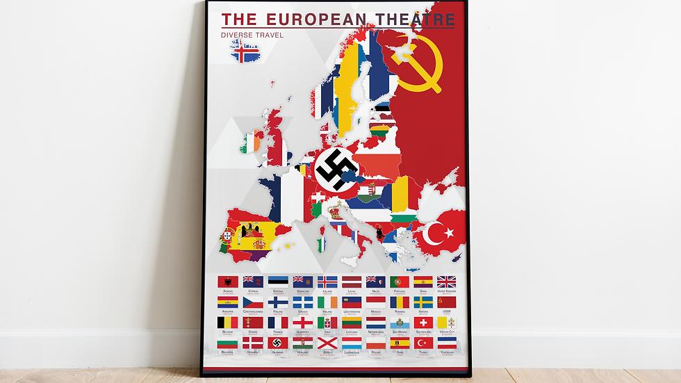 'The European Theatre' Map Print