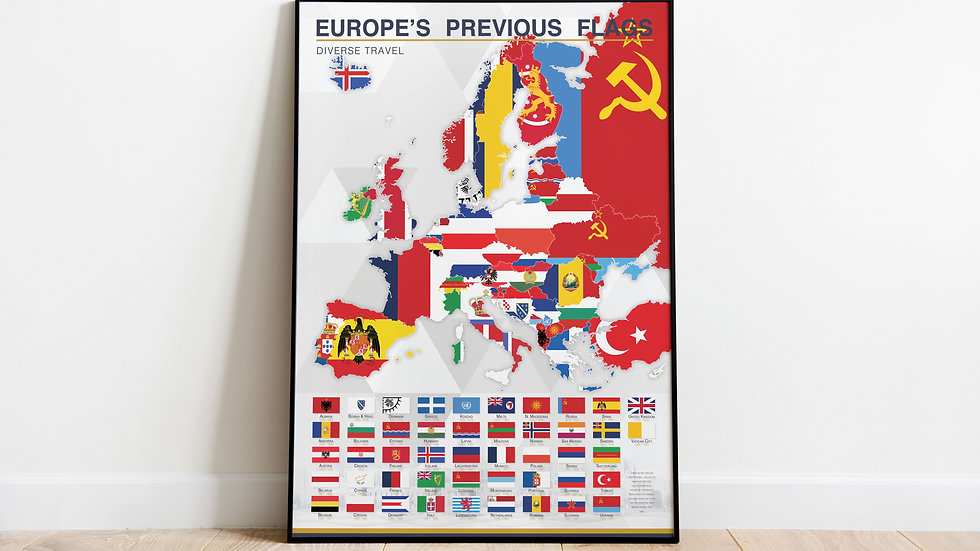 'Europe's Previous Flags' Map Print