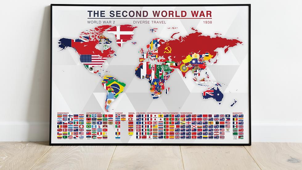 'The Second World War' Map Print