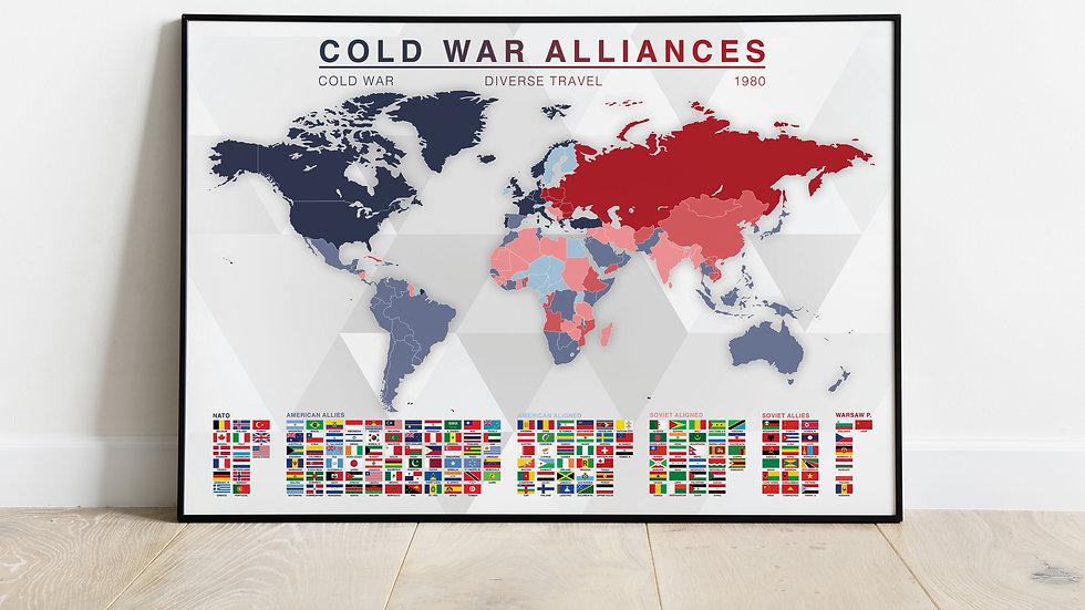'Cold War Alliances' Map Print