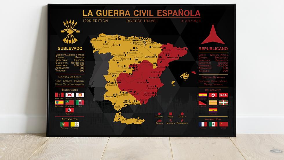 'La Guerra Civil Espanola' 100K Edition Map Print