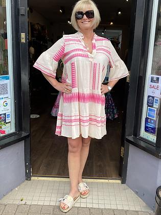 Hot Pink Cotton Ibiza Aztec Tunic Dress