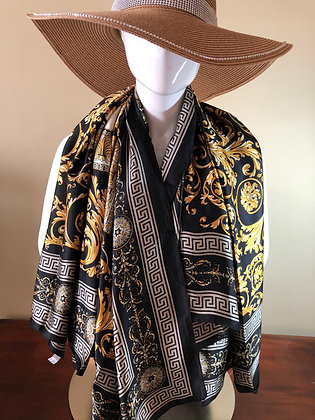 Designer Inspired Silk Scarf Gold and Black