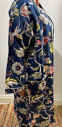 Lotus Flower Navy Kimono or Robe