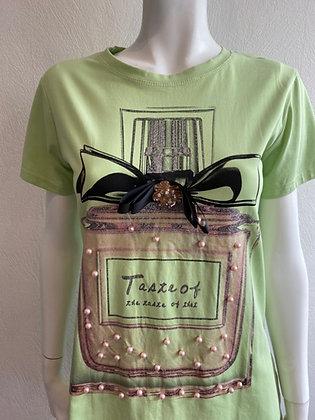 Italian Perfume Bottle Pearl T-shirt Green