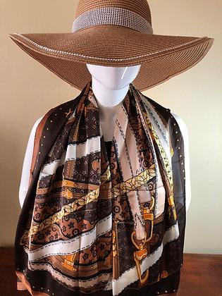 Designer Inspired Silk Luggage Scarf