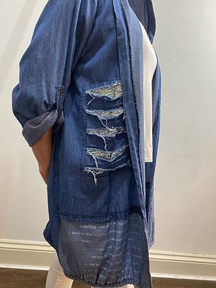 Casual Hooded Sequin Denim Jacket
