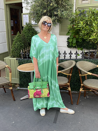 Tie Dye Boho Maxi Dress in Emerald Green