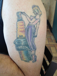 Fan Spark Plug Girl tattoo