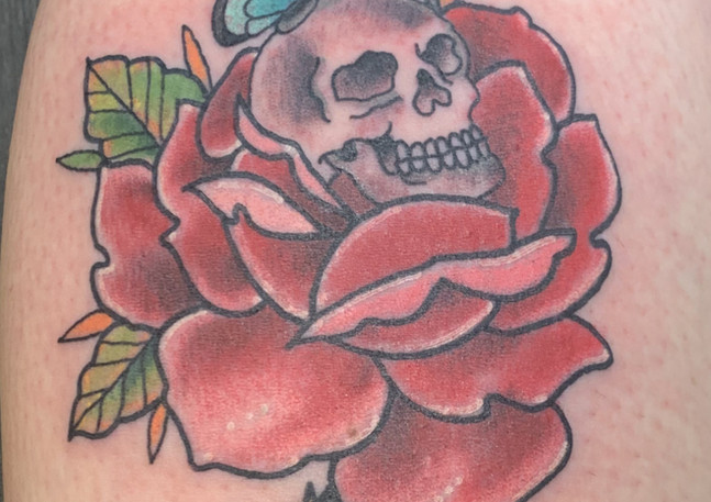 Skull, Rose and Butterfly