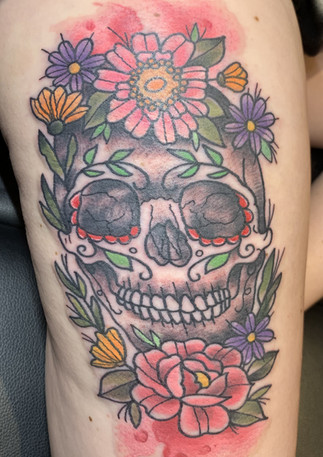 Day of the Dead Skull with Flowers