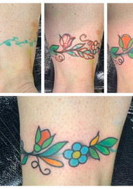 Re-work & flowers drawn on existing tattoo